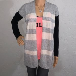 Gray And Cream Front Open Sweater